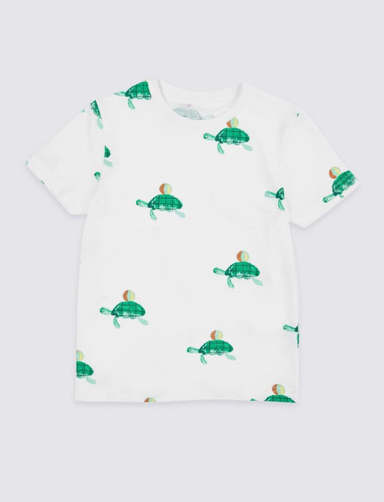 Beyaz Saf Pamuklu Desenli T-Shirt