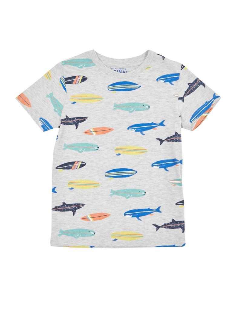 Erkek Çocuk Gri Pamuklu Surfboard Desenli T-Shirt