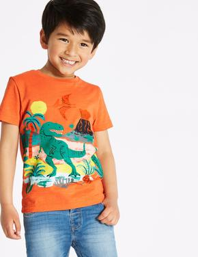 Erkek Çocuk Açık Turuncu Saf Pamuklu Dinozor Desenli T-Shirt
