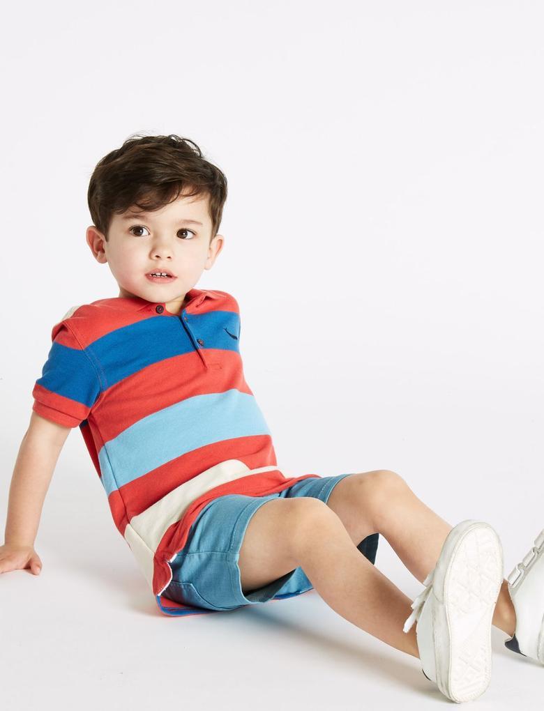 Erkek Çocuk Multi Renk Saf Pamuklu Çizgili Polo Yaka T-Shirt