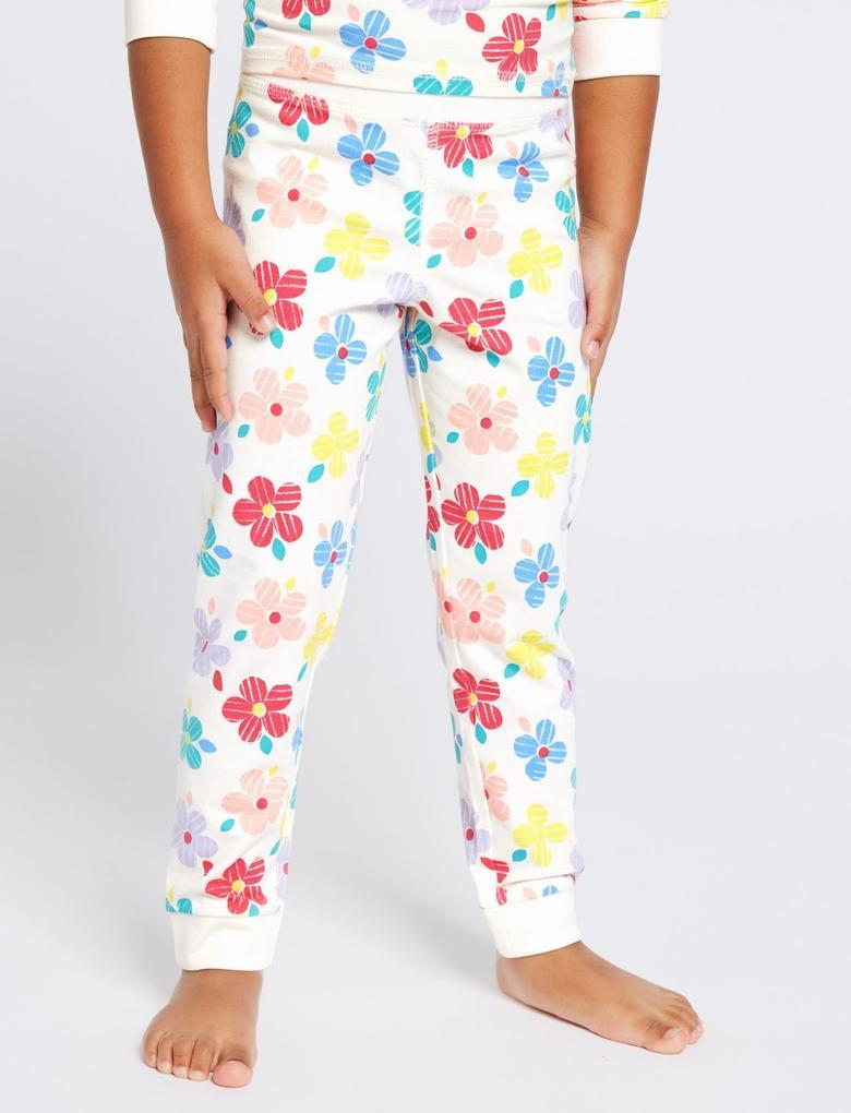 Beyaz Pamuklu Streç Pijama Takımı