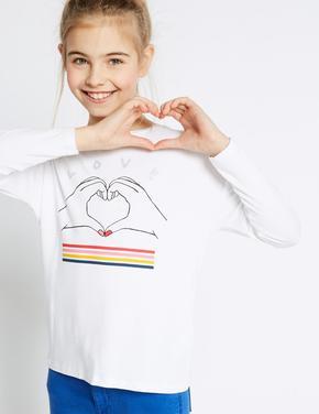 Kalp Desenli Uzun Kollu T-Shirt (StayNEW™ Teknolojisi ile)