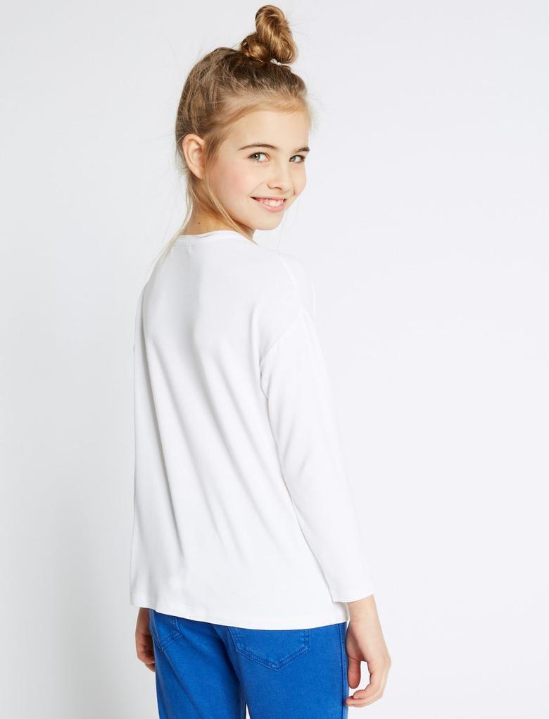 Kız Çocuk Beyaz Kalp Desenli Uzun Kollu T-Shirt (StayNEW™ Teknolojisi ile)