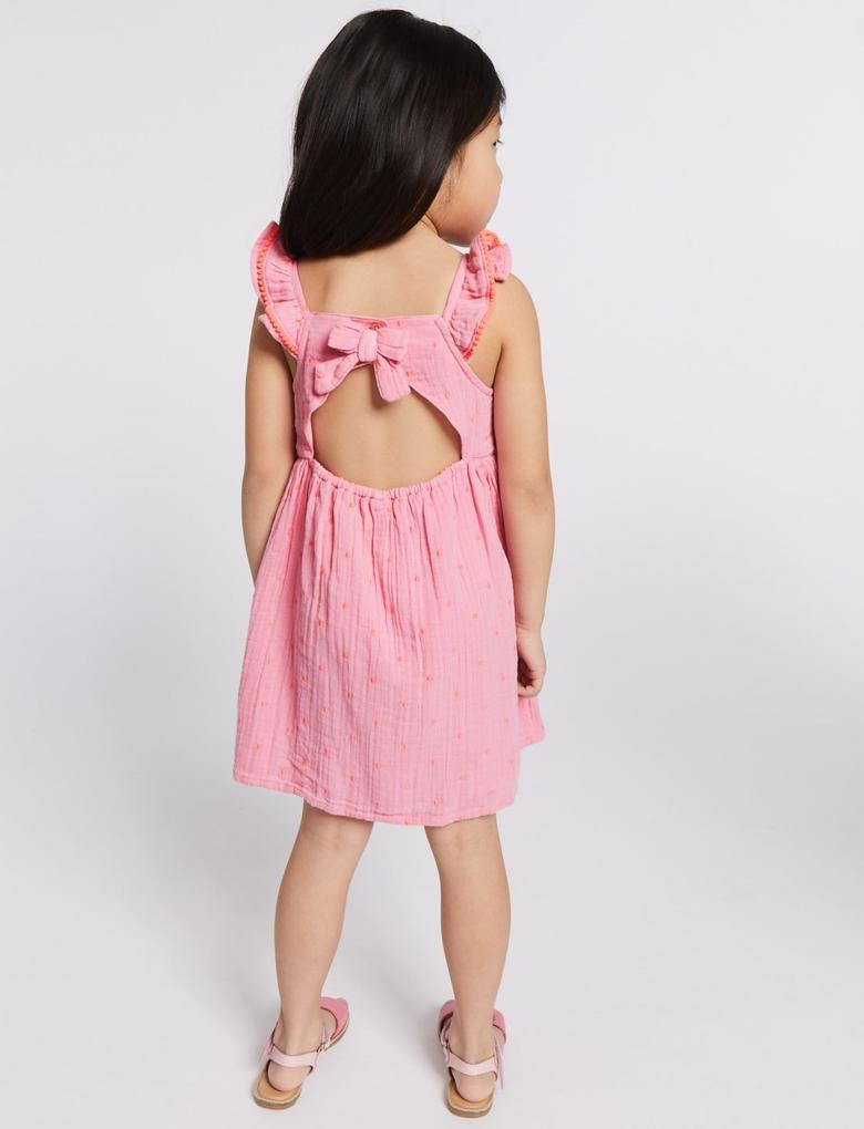 Saf Pamuklu İşlemeli Elbise