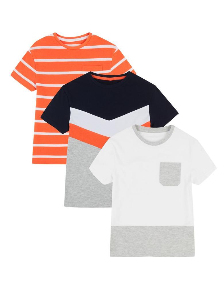 Multi Renk 3'lü Saf Pamuklu T-Shirt Seti