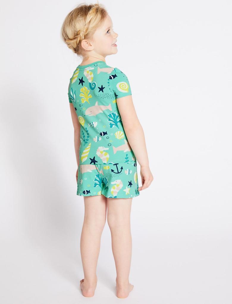 Kız Çocuk Yeşil Pamuklu Streç Şort Pijama Takımı