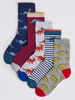 Multi Renk 5'li Dinozor Desenli Çorap Seti (Freshfeet™ Teknolojisi ile)