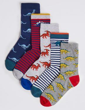 5'li Dinozor Desenli Çorap Seti (Freshfeet™ Teknolojisi ile)