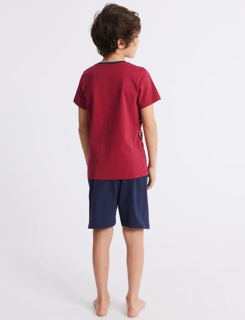 Mor FC Barcelona Şort Pijama Takımı