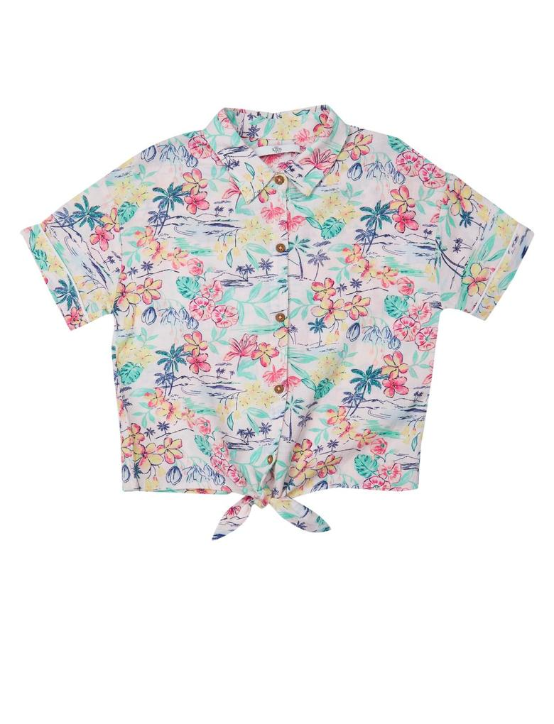 Kız Çocuk Pembe Palmiye Desenli Gömlek