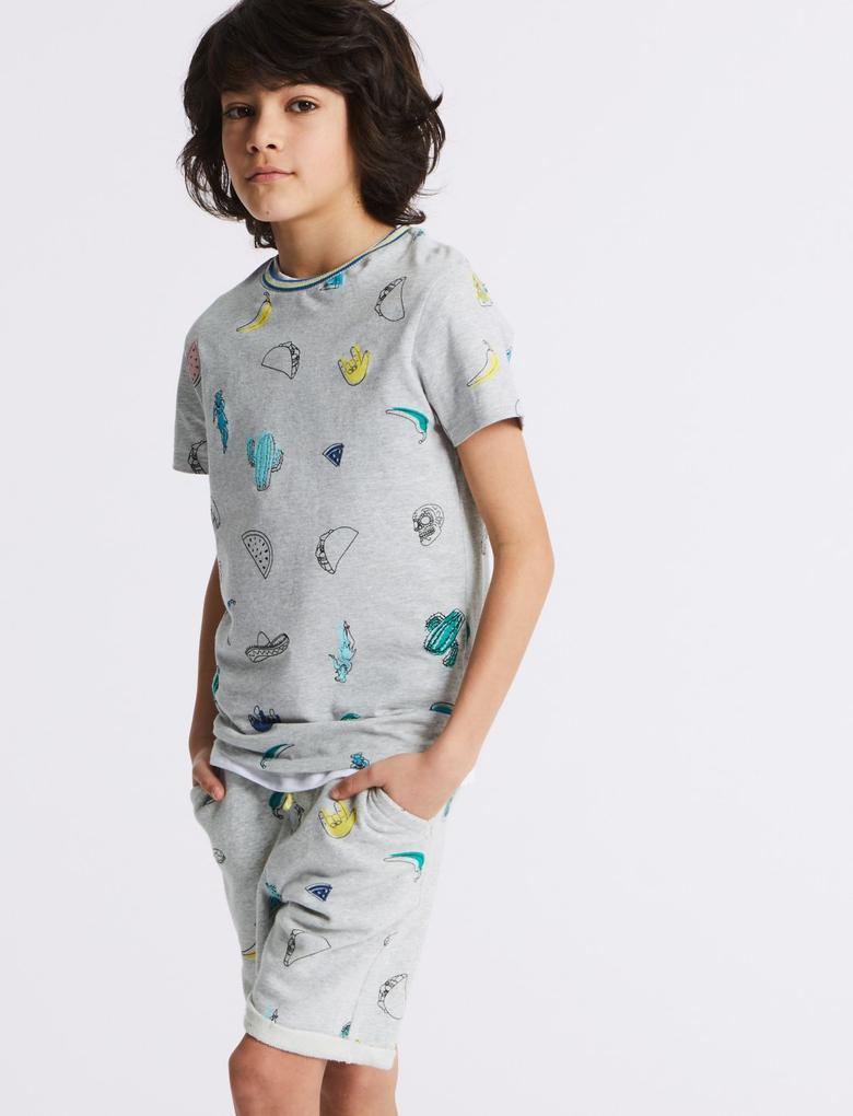 Erkek Çocuk Gri Saf Pamuklu T-Shirt