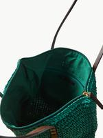 Kadın Yeşil Fermuarlı Hasır Kol Çantası