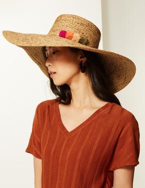 Ponpon Detaylı Hasır Şapka