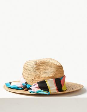 Renkli Fular Detaylı Hasır Şapka