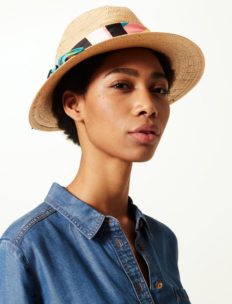 Kadın Kahverengi Renkli Fular Detaylı Hasır Şapka