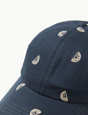 Saf Pamuklu İşlemeli Şapka