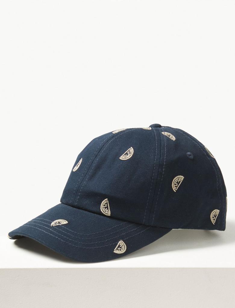 Lacivert Saf Pamuklu İşlemeli Şapka