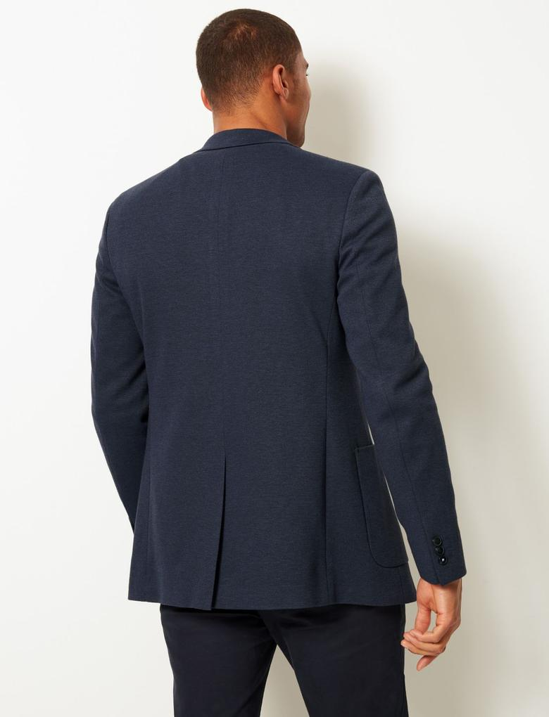 Erkek Lacivert Pamuklu Slim Fit Ceket