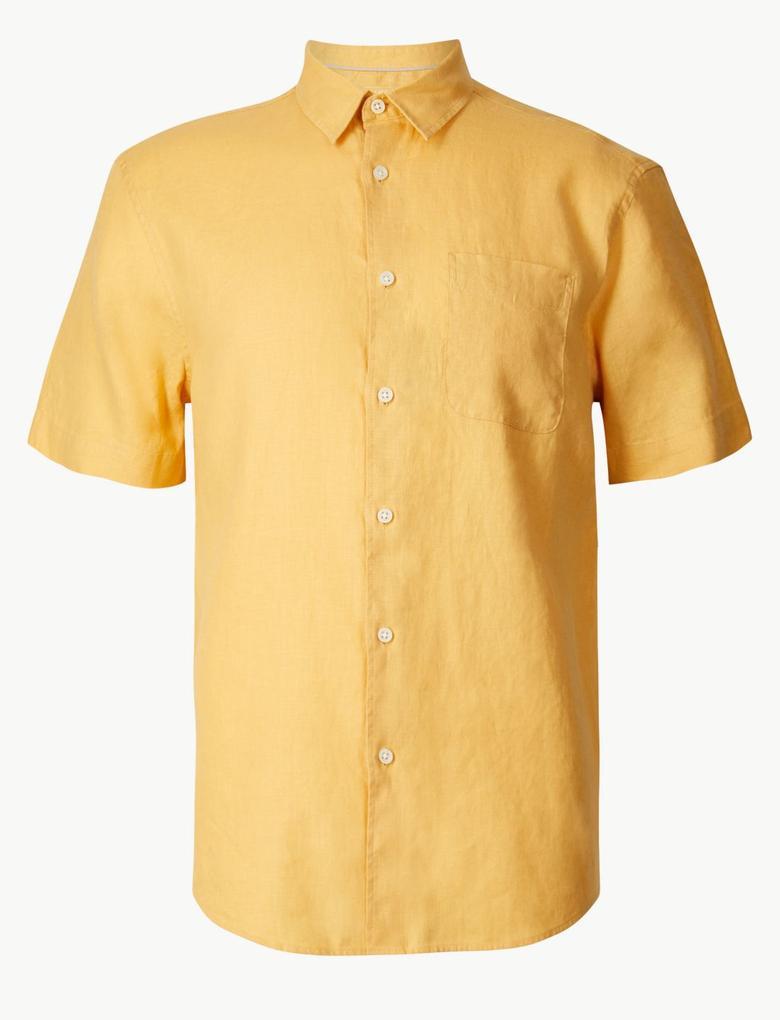 Erkek Sarı Cepli Saf Keten Gömlek