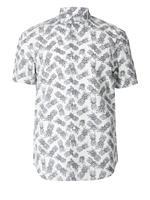 Erkek Beyaz Saf Pamuklu Desenli Gömlek
