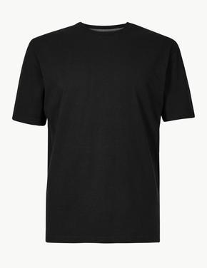 Erkek Siyah Saf Pamuklu Yuvarlak Yaka T-Shirt