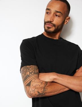 Siyah Saf Pamuklu Sıfır Yaka T-Shirt