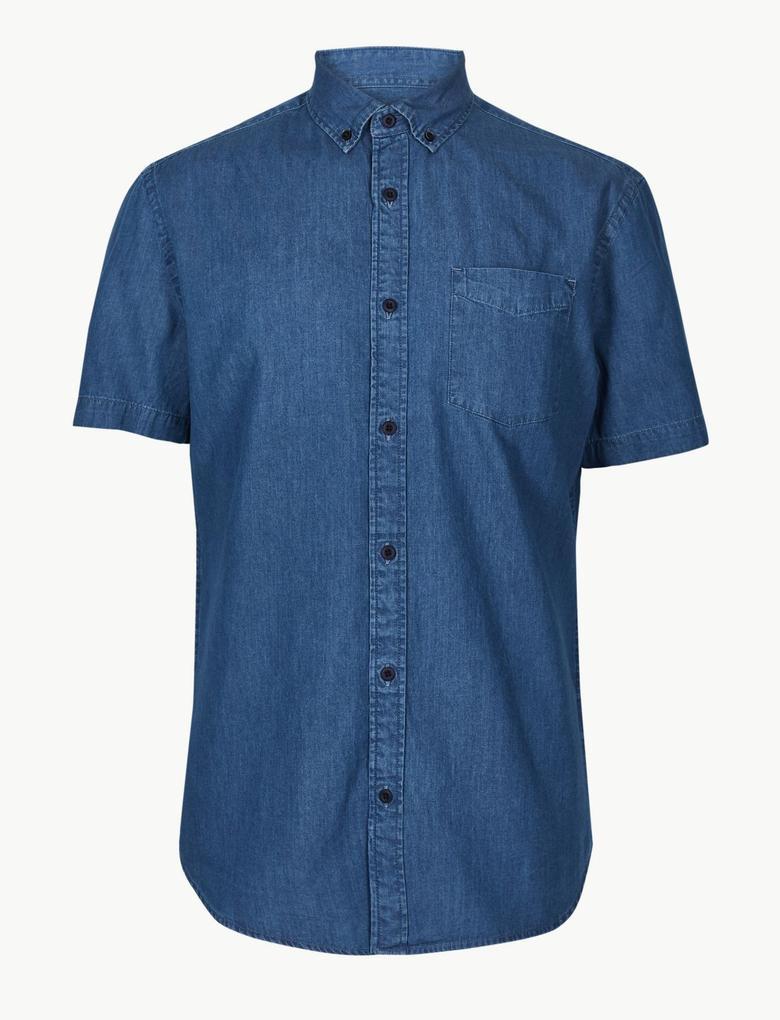 Mavi Saf Pamuklu Cepli Gömlek