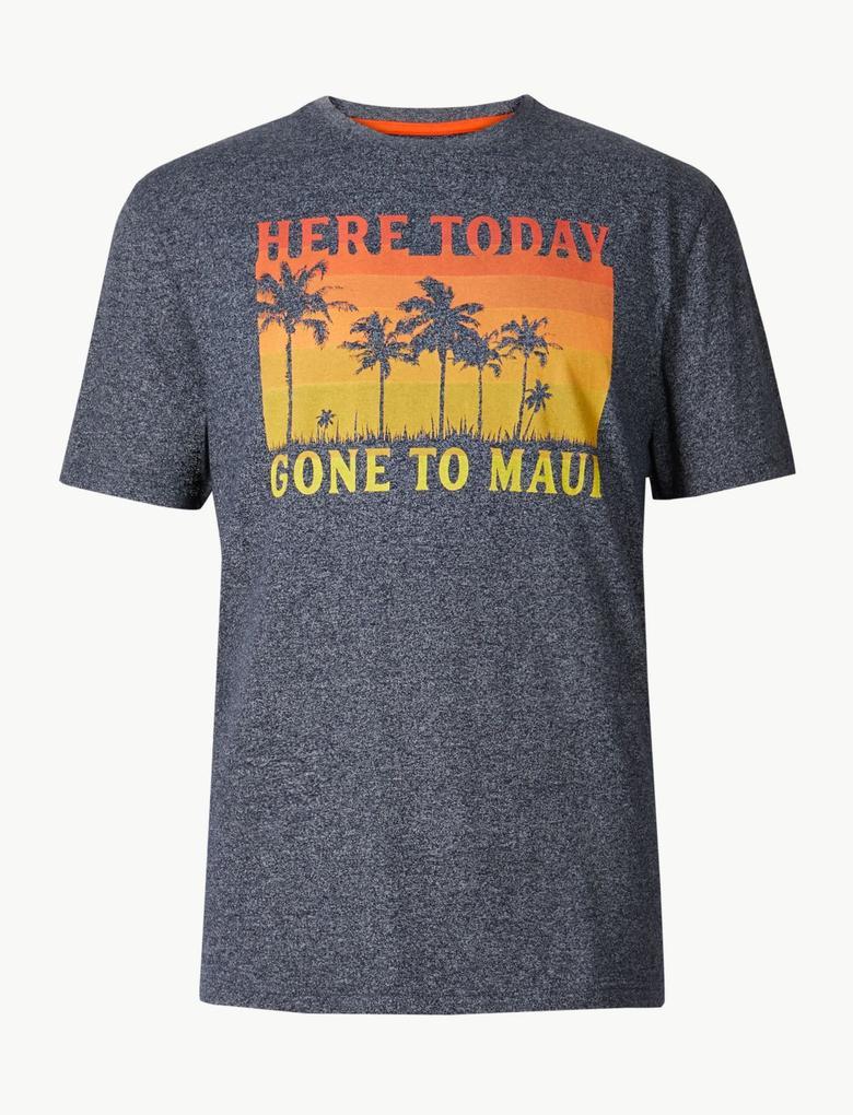 Lacivert Pamuklu Desenli Sıfır Yaka T-Shirt