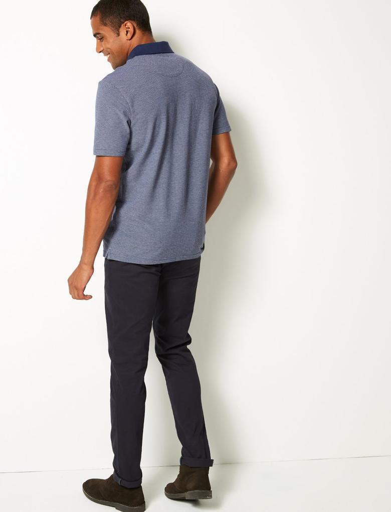 Erkek Lacivert Pamuklu Çizgili Polo Yaka T-Shirt