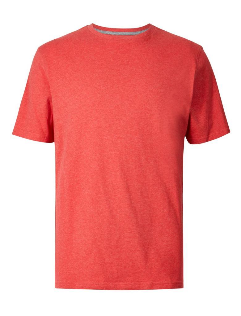 Erkek Kırmızı Saf Pamuklu Sıfır Yaka T-Shirt