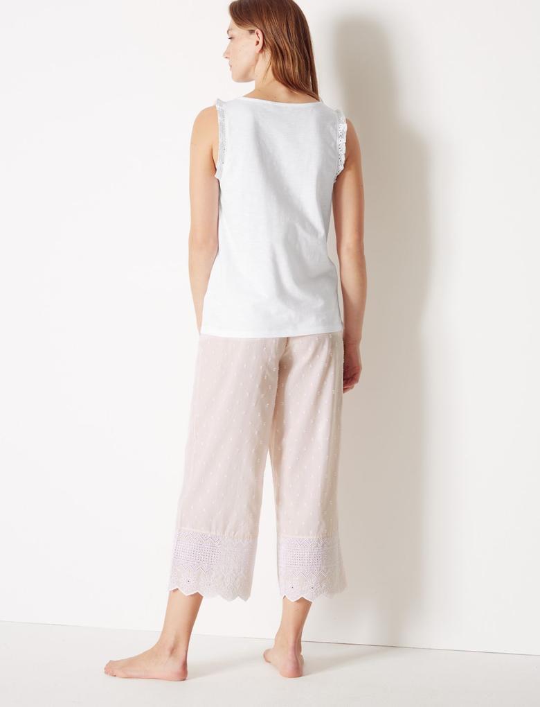 Saf Pamuklu Kısa Pijama Takımı