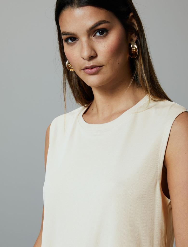 Kadın Gri Yuvarlak Yaka Kolsuz Bluz