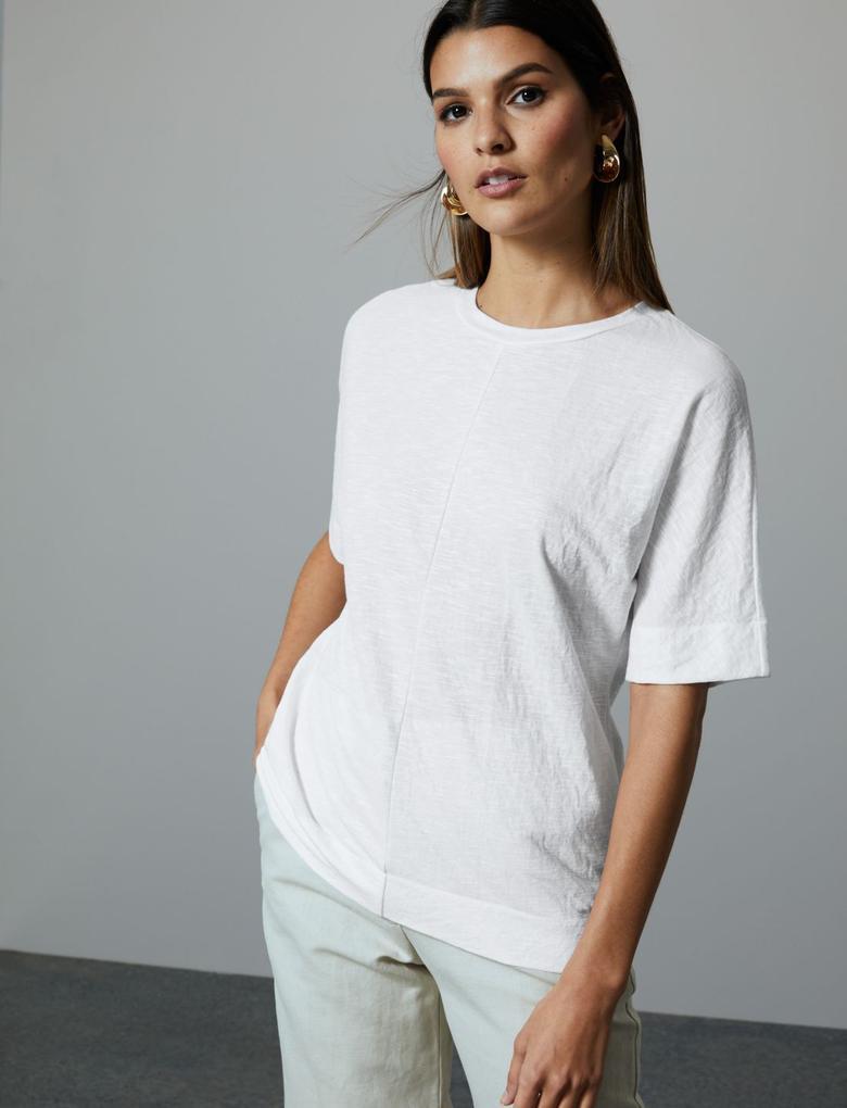 Kadın Beyaz Yuvarlak Yaka Kısa Kollu T-Shirt