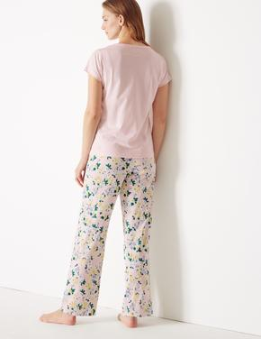 Saf Pamuklu Çiçek Desenli Pijama Takımı