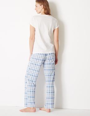 Saf Pamuklu Ekose Pijama Takımı