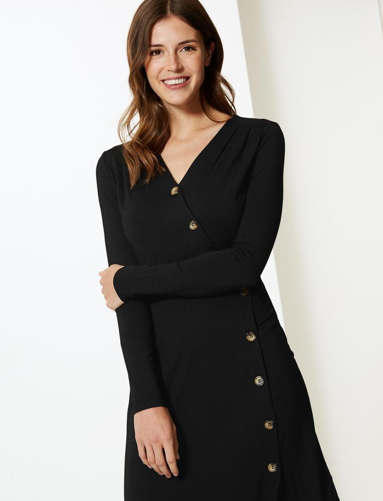 Siyah Jarse Uzun Kollu Elbise