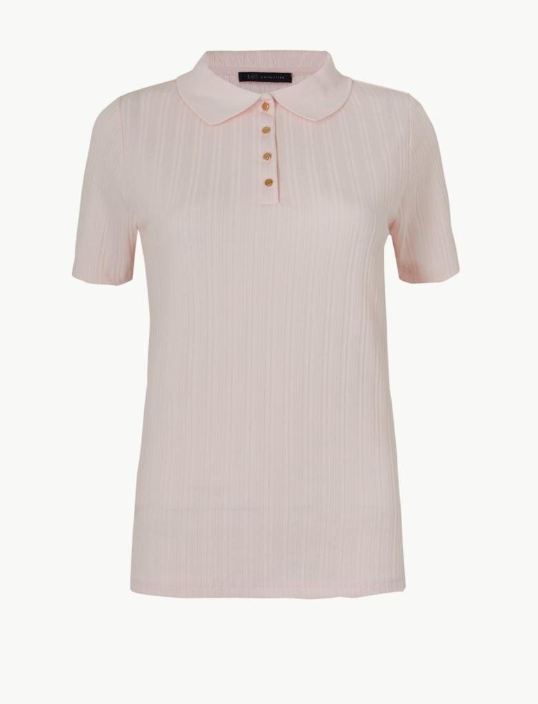 Pembe Kısa Kollu Polo Yaka T-Shirt