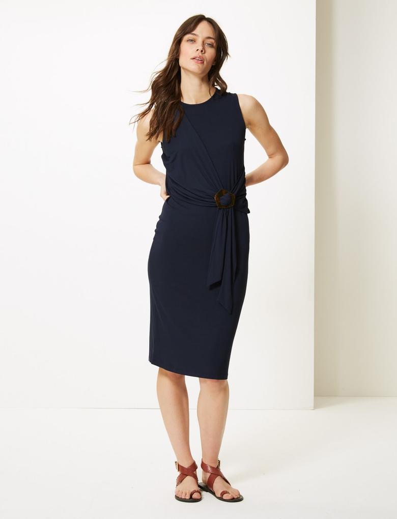 Kadın Lacivert Yuvarlak Yaka Bodycon Midi Elbise