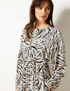 Desenli Uzun Kollu Relaxed Midi Elbise