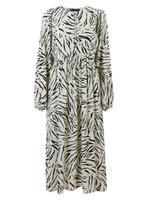 Kadın Krem Desenli Uzun Kollu Relaxed Midi Elbise