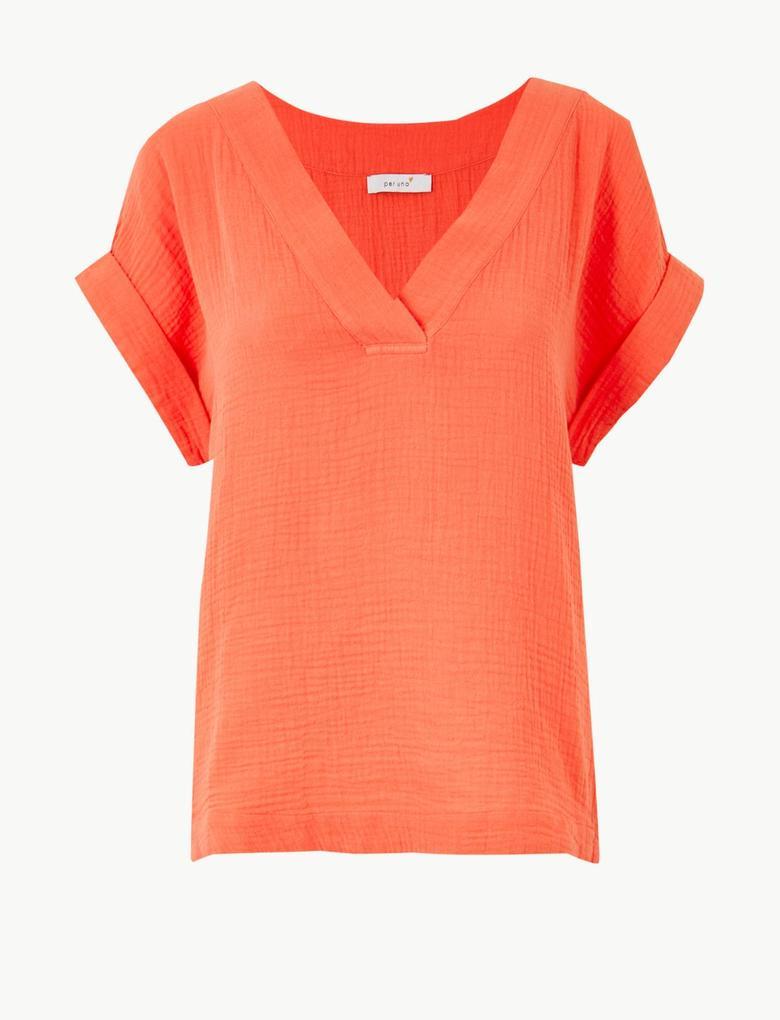 Kadın Turuncu Saf Pamuklu Kısa Kollu T-Shirt