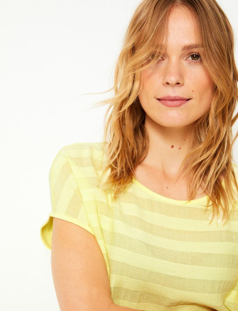 Kadın Sarı Çizgili Kısa Kollu T-Shirt