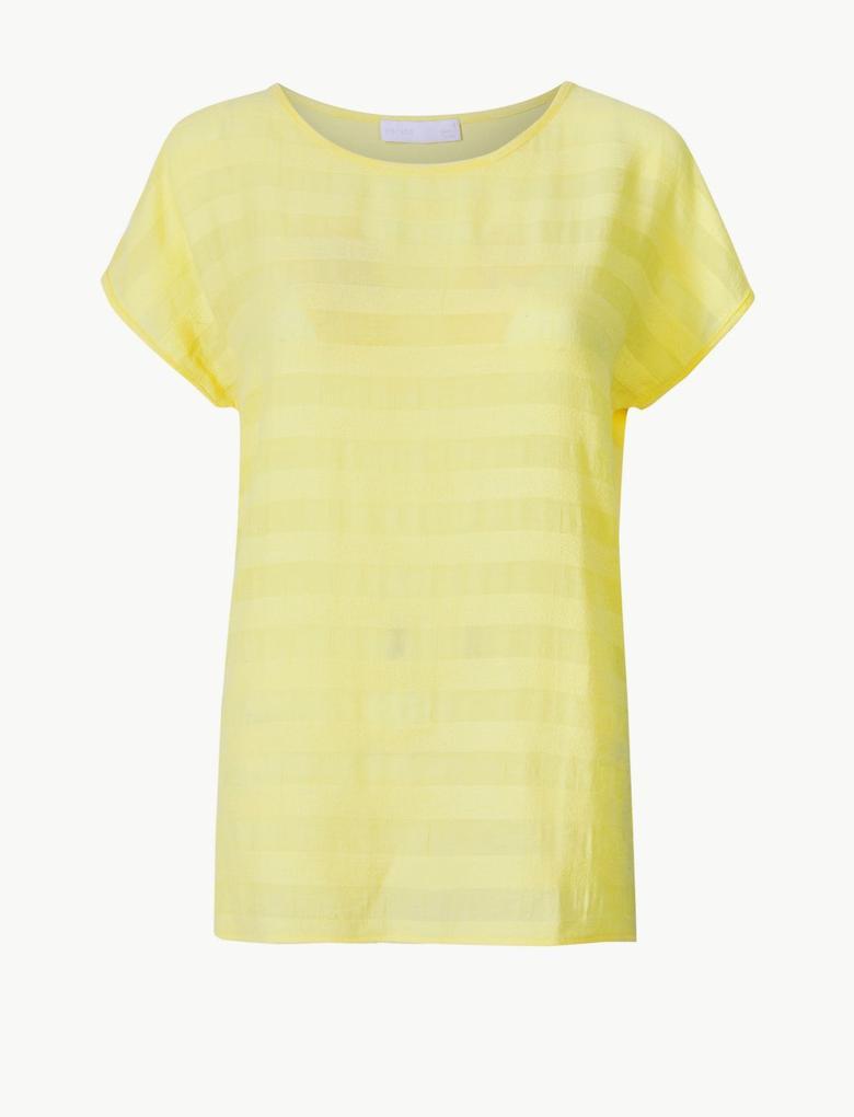 Sarı Çizgili Kısa Kollu T-Shirt