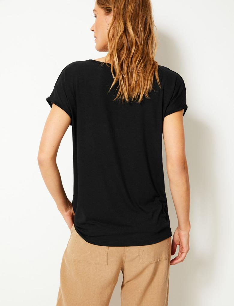 Çizgili Jarse Kısa Kollu T-Shirt