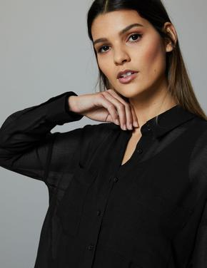 Siyah Bol Kesim Uzun Kollu Gömlek