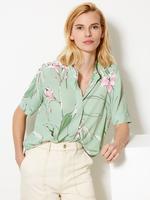 Çiçek Desenli Kısa Kollu Gömlek