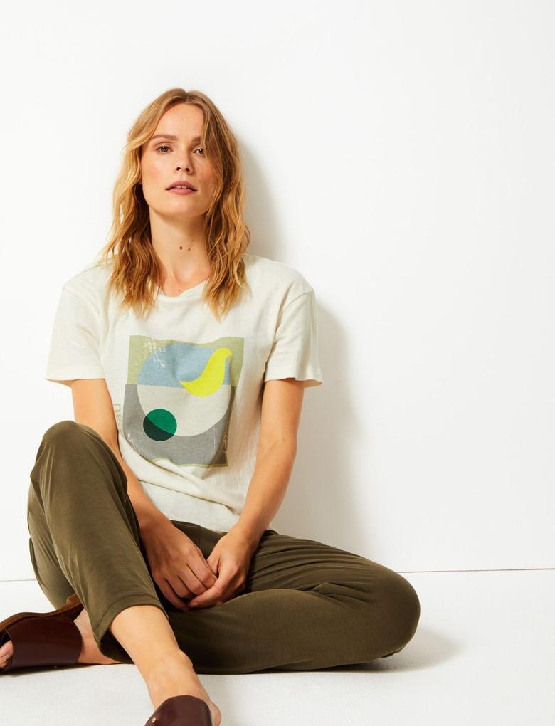 Saf Pamuklu Desenli Kısa Kollu T-Shirt