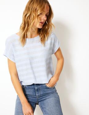 Kadın Mavi Çizgili Kısa Kollu T-Shirt