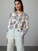Kadın Krem Desenli Uzun Kollu Gömlek
