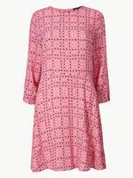 Puantiyeli 3/4 Kollu Mini Elbise